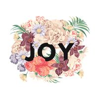 Joy text with floral design