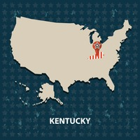 Kentucky state on the map of usa