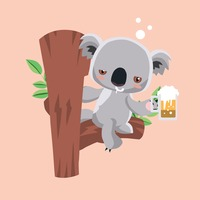 Koala bear drinking beer