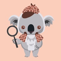 Koala bear holding a magnifying glass