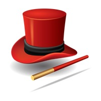 Magician hat with wand