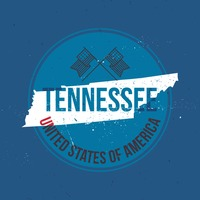 Map of tennessee state label