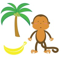 Monkey and palm tree