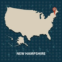 New hampshire state on the map of usa