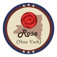 New york state with rose flower