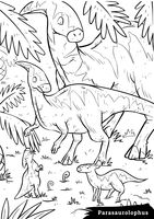 Parasaurolophus with hatchlings