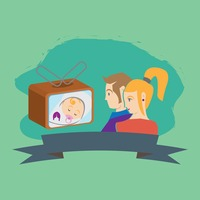 Parent watching baby on television