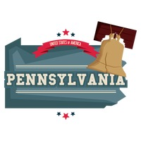 Pennsylvania map with liberty bell