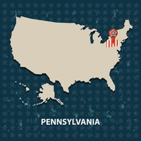 Pennsylvania state on the map of usa