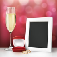 Photo frame with wedding rings