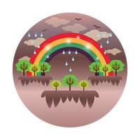 Rainbow with rain and trees