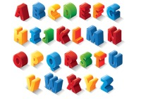 Set of 3d alphabets