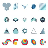 Set of abstract logos elements