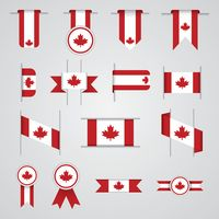 Popular : Set of canadian flag ribbons and rosettes