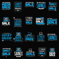Set of cyber monday sales icons