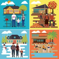 Set of family outing icons