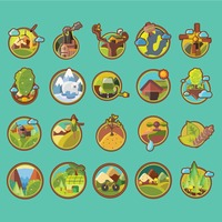 Set of go green icons