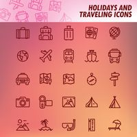 Set of holidays and traveling icons
