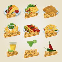 Set of mexican food and beverage icons
