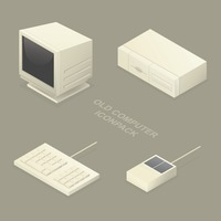 Set of old computer icons
