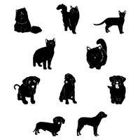 Set of pet animal silhouettes