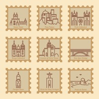 Set of portugal postal stamps with landmarks