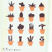 Set of succulent plants icons
