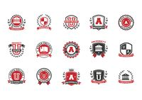 Set of university logo element icons