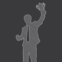 Silhouette of a businessman holding a trophy