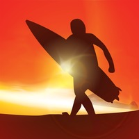 Silhouette of a man with surfboard