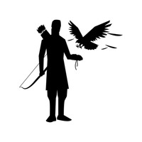 Silhouette of an archer with his eagle