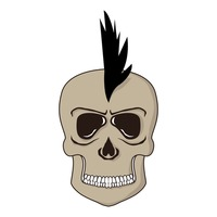 Skull with funky hair style