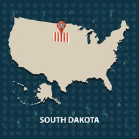 South dakota state on the map of usa