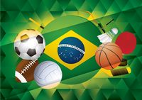 Sport themed banner with brazil flag