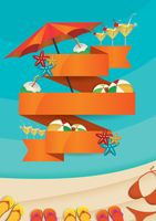 Popular : Summer beach party concept with empty banner