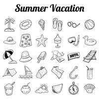 Summer vacation icon collection