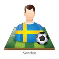 Sweden player with soccer ball on field