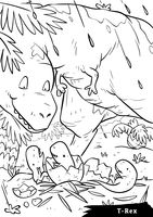 T rex with hatchlings
