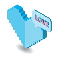 Three dimensional pixelated heart with speech bubble