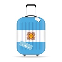 Travel suitcase with argentina flag