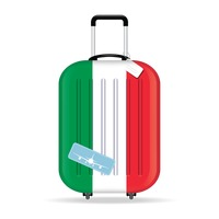 Travel suitcase with italy flag