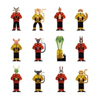Twelve chinese zodiac in chinese traditional clothes