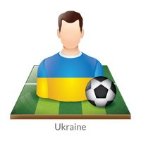 Ukraine player with soccer ball on field