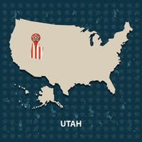Utah state on the map of usa