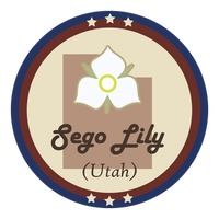 Utah state with sego lily flower