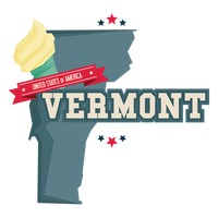 Vermont map with ice cream