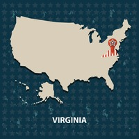 Virginia state on the map of usa