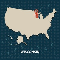 Wisconsin state on the map of usa