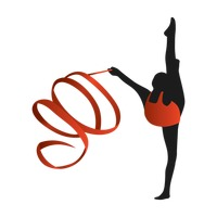 Woman gymnast with ribbon