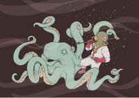Popular : Young man hunting octopus